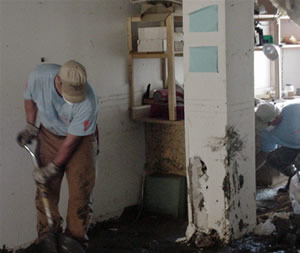 Doug Brown working with the Katrina clean up.